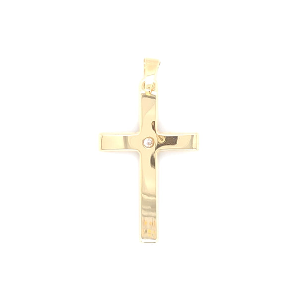 9ct Yellow Gold  Polished Cross CZ Centre