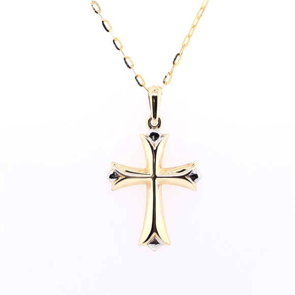 9ct Yellow Gold Small Tapered Two-tone Cross