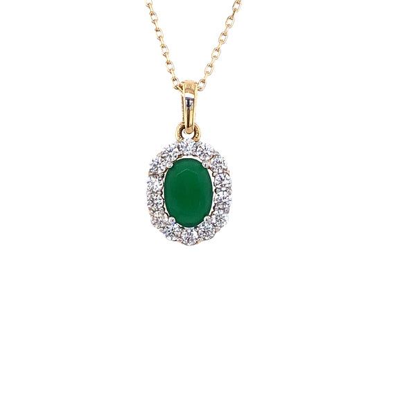9ct Gold  Green Agate & CZ Small Cluster Pendant
