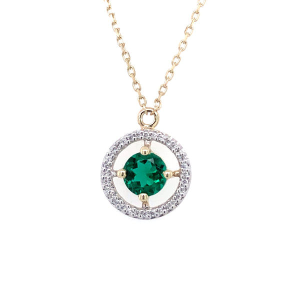 9ct Gold Synthetic Emerald & CZ Floating Halo Pendant