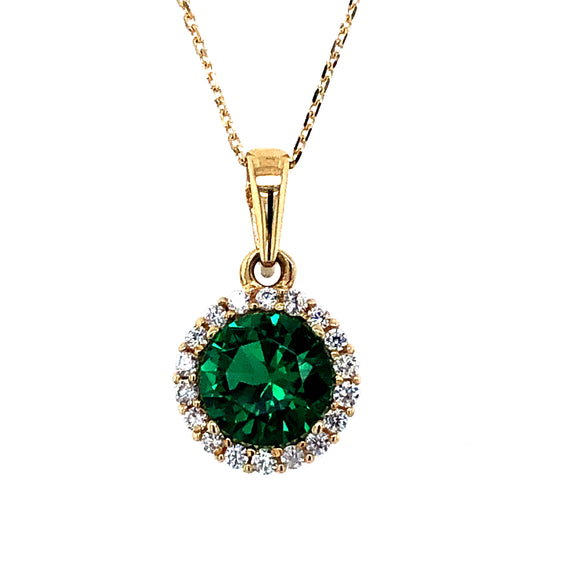 9ct Gold  Green CZ  Halo Pendant