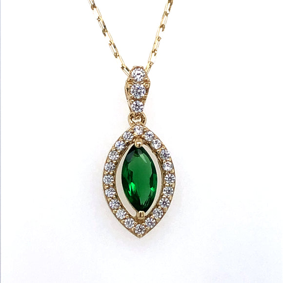 9ct Gold  Synthetic Emerald & CZ  Marquise  Pendant
