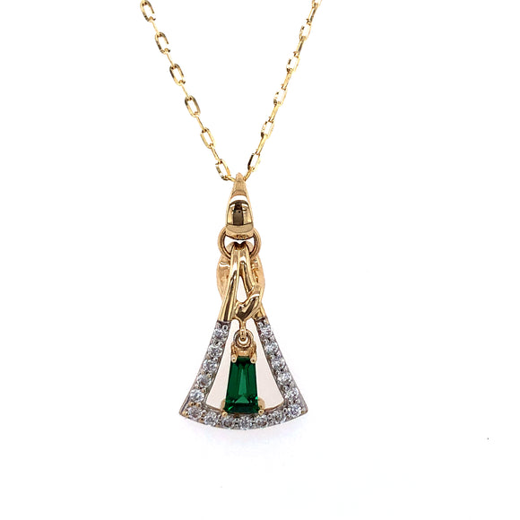 9ct Gold  Synthetic Emerald & CZ  Art Deco  Pendant
