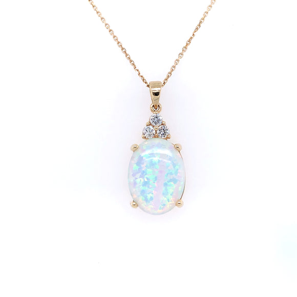 9ct  Gold Created Opal & CZ Pendant