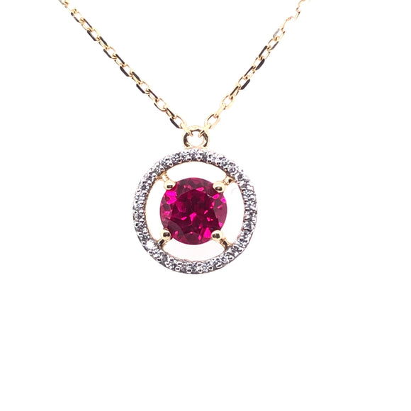 9ct  Gold Syn Ruby & CZ Pendant