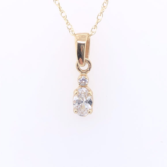 9ct Gold CZ Oval Drop Pendant