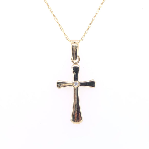 9ct Yellow Gold Small Tapered CZ Cross