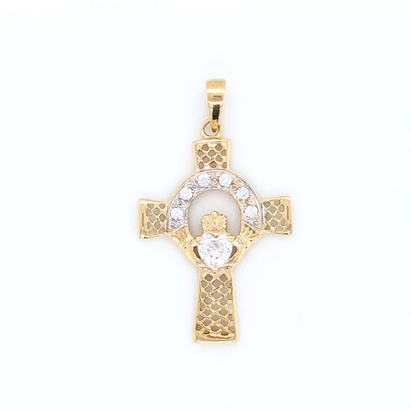 9ct Yellow Gold  Celtic Cross Claddagh CZ Centre