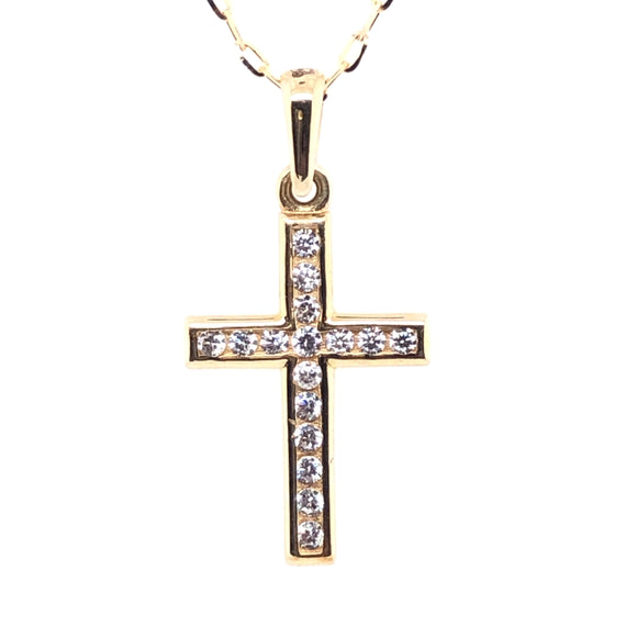 9ct Yellow Gold Dainty Channel-set CZ Cross
