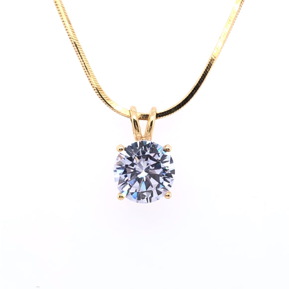 9ct Gold 8mm CZ Solitaire Pendant