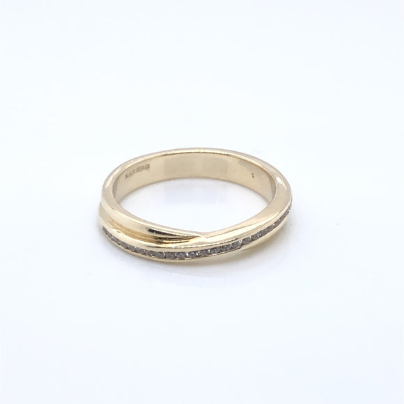 9ct Gold CZ Crossover Eternity Ring