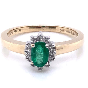 9ct Gold Emerald & Diamond Cluster Ring