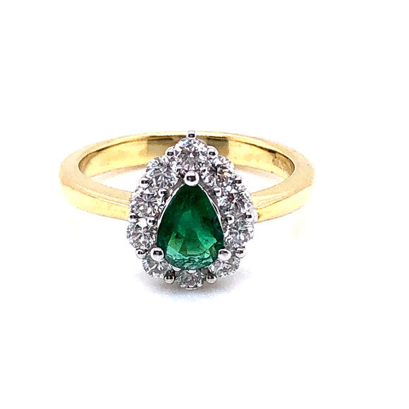 18ct Gold Emerald & Diamond Pear-shaped Cluster Ring