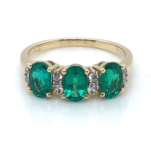 9ct Gold Created Emerald & CZ Trilogy Ring