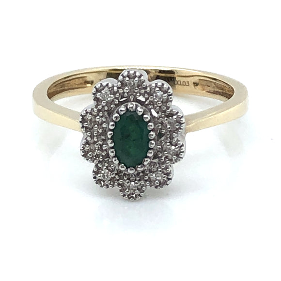 9ct  Gold Emerald and Diamond Vintage Cluster Ring