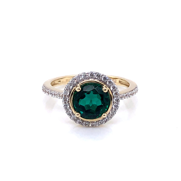 9ct Gold Synthetic Emerald & CZ Floating Halo Ring