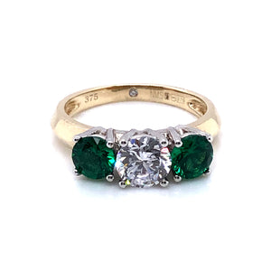 9ct  Gold Green & White CZ Trilogy Ring