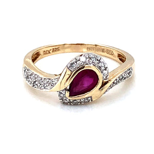 9ct Gold Ruby Pear & Diamond  Twist Ring