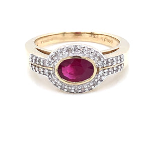 9ct Gold Ruby & Diamond Pavé Ring