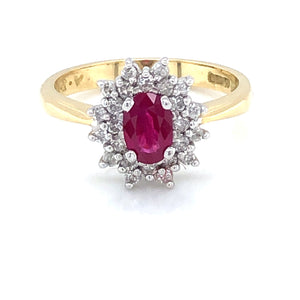 18ct Gold Ruby & Diamond Double Cluster Ring