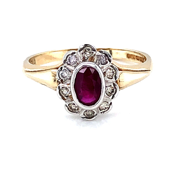 9ct Gold Ruby & Diamond Floral Cluster Ring