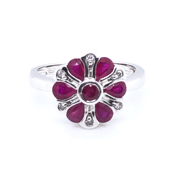 9ct  White Gold Ruby & Diamond Petal Ring