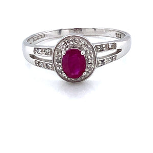 9ct White Gold Ruby & Diamond  Pavé Cluster Ring