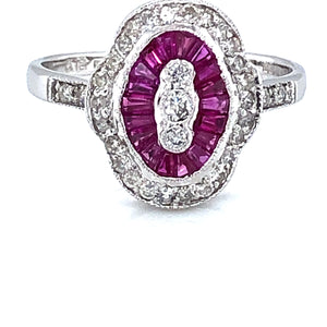 18ct White Gold Ruby & Diamond Deco Ring
