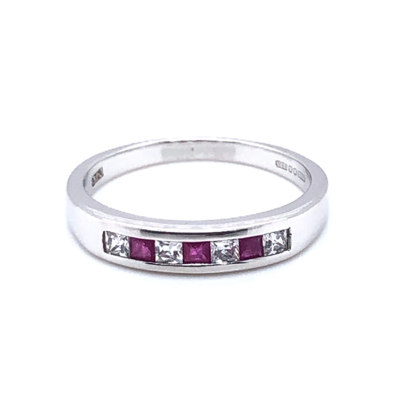 9ct  White Gold Ruby & CZ Eternity Ring