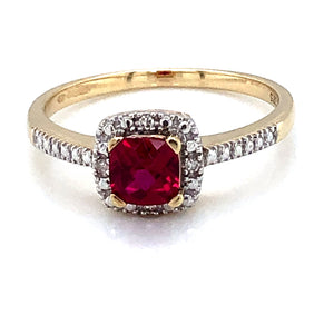 9ct Gold Created Ruby & Diamond Halo Ring