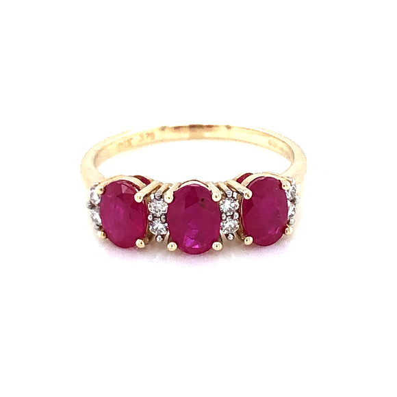 9ct Gold Ruby & Diamond Trilogy Ring