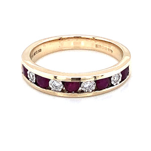 9ct Gold Ruby & Diamond Channel-set Eternity Ring