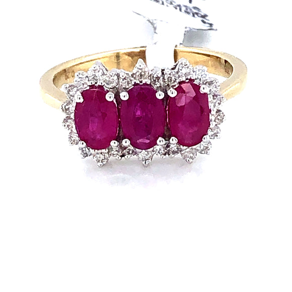 9ct Gold Ruby & Diamond  Triple Cluster Ring