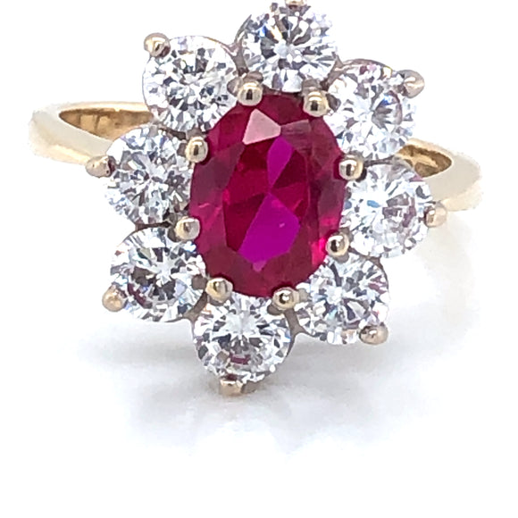 9ct Gold  Ruby & CZ Large Cluster Ring