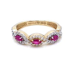 9ct Gold Ruby Marquise  & CZ Twist Ring