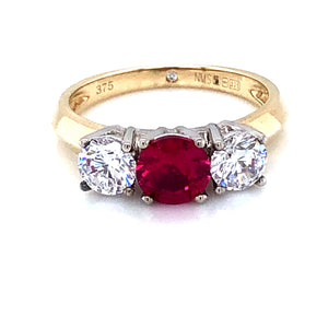 9ct Gold  Ruby & CZ Trilogy Ring