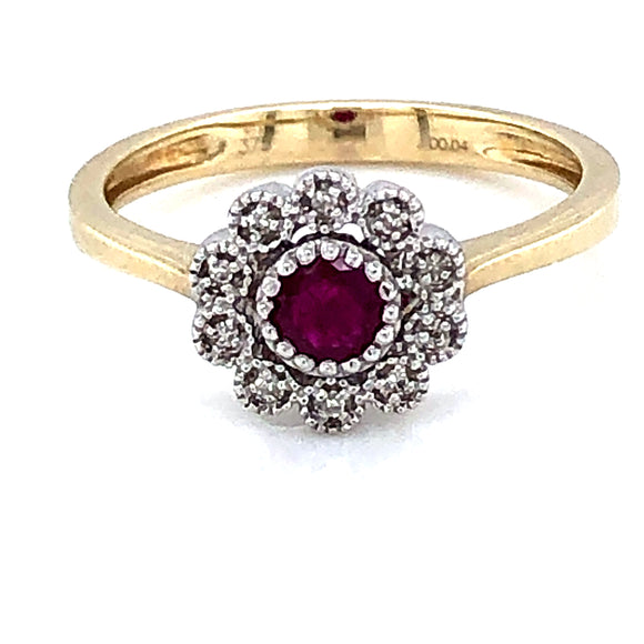 9ct Gold Ruby & Diamond Vintage Cluster Ring