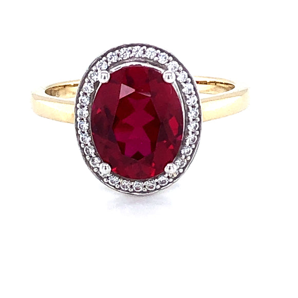 9ct Gold  Created Ruby & CZ Vintage Halo Ring