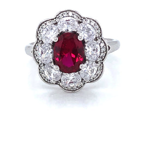 9ct White Gold Created Ruby & CZ Cocktail Ring
