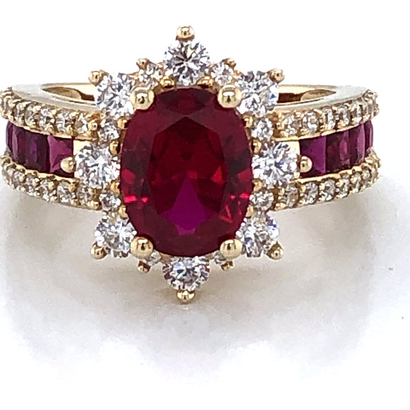 9ct Gold  Ruby & CZ Large Cocktail Ring