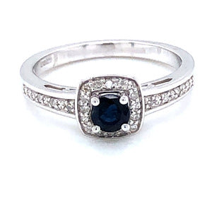 9ct White Gold Sapphire & Diamond Cushion Cluster Ring