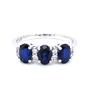 9ct White Gold Sapphire & CZ Trilogy Ring