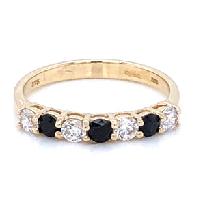 9ct Gold  Sapphire & CZ Eternity Ring