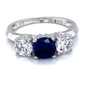 9ct White Gold  Synthetic Sapphire & CZ Trilogy  Ring
