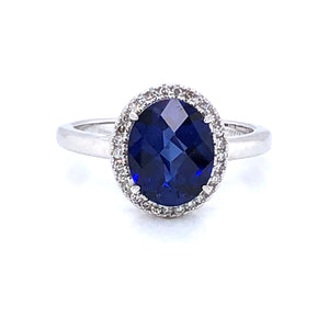 9ct White Gold Sapphire & Diamond Vintage Cluster Ring