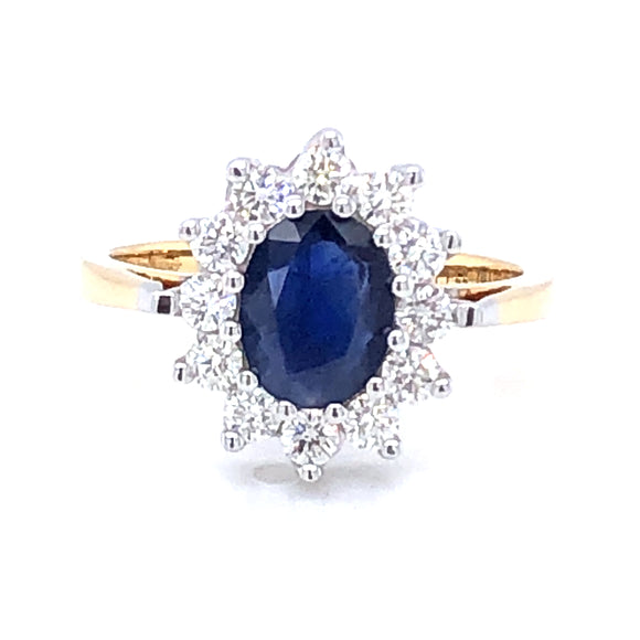 18ct Gold 1.10ct Sapphire & 0.55ct Diamond Cluster Ring