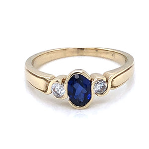 9ct  Gold Synthetic Sapphire & CZ Trilogy Ring