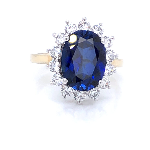 9ct  Gold Sapphire & CZ Cluster Ring