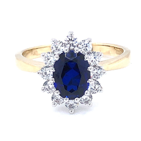 9ct  Gold Created Sapphire & CZ Cluster Ring