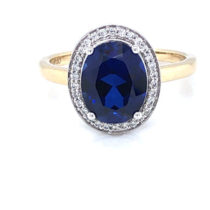 9ct Gold Created Sapphire & CZ Vintage Cluster  Ring